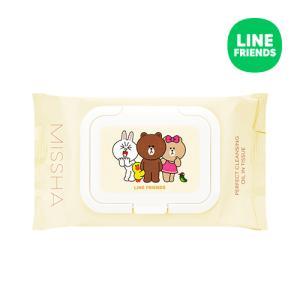 [미샤] 라인프렌즈 에디션 수퍼 아쿠아 퍼펙트 클렌징 오일 인 티슈 200ml/30매